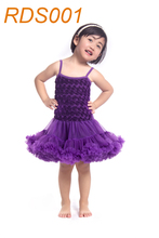 2015 fashion Newest design dress rosette dress party birthday dress petti dress pettidress for baby girls KP-RDS001