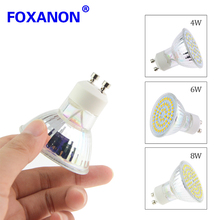 Foxanon GU10 led lamp 220v 4w 6w 8w Spotlight bulb high brightness light 2835 SMD 36 - 72leds Glass body Replace Halogen 20w 40w