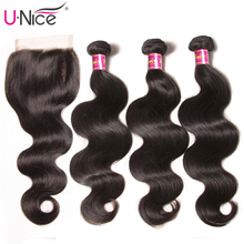 UNICE Hair Closure Weaving Body-Wave Wavy Mi Color 3-Bundles 100%Human-Hair Brazilian
