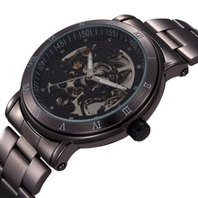 New Chronograph Clock 3ATM Automatic Stainless Men Full Steel Skeleton Watch Men Mechanical Fashion Mens Casual Watch For Men(China)