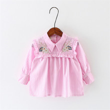 pink and blue baby girl shirt fashion long sleeve embroidery striped princess shirt for summer kids blouses clothes