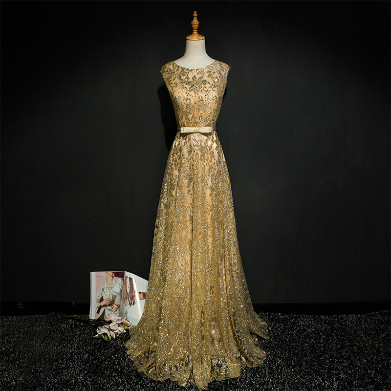 Gold Evening Dress Formal Evening Gown