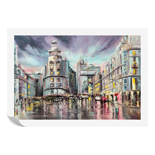 Cityscape Acrylic Painting Prints Canvas Raining Scenery Fine Arts Canvas Printing 1 Pieces Giclee Art Prints Home Wall Decor(China)