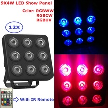 12Pack 9X4W RGBW/RGBUV 4IN1 LED Show Panel Flat Par Light DMX Stage Lights Business Lights Professional Flat Par Cans For Discos(China)