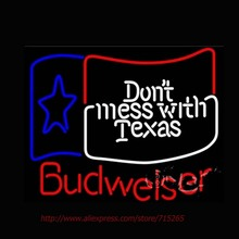 New Neon Sign Budweiser Dont Mess With Texas Neon Bulbs Handcrafted Light Bulbs Display Neon Lamp Personalized Design VD 30x24