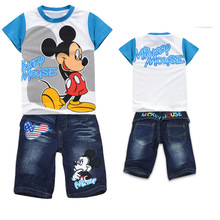 New Boys Mickey Clothing Sets Children Casual Summer Cotton Short Shirt + Jeans  2 Piece Suit Kids Clothes Set Hot Sale