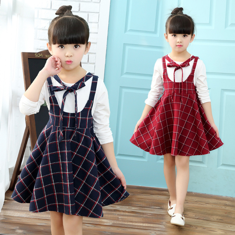 V-TREE spring girls dress preppy style children dress plaid baby kids dress<br><br>Aliexpress