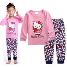 Hot Sale 2-7 Years Children's Pajamas Long Sleeve Clothing Set For Kids Boys Fashion Cartoon Hello Kitty Home Wear Pijamas PJS