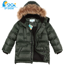 Winter Jaqueta Luxury Brand Boys Winter Jacket With Fur Hood Children Jackets For 6-12 Age Boy SPSHOW Down & Parkas 0144(China)