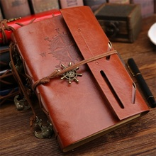 2017 new Spiral NoteBook Newest Diary Book Vintage Pirate Anchors PU leather Note Book Replaceable Xmas Gift Traveler Journal(China)