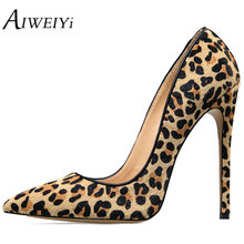 AIWEIYi Women's Stiletto High Heels Leopard Print Pump Shoes Pointed toe Slip On High Heels Spring Autumn Slip On Shoes Woman(China)
