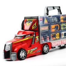 Super Large Container Transport Container Car Model Car 6 Alloy Car + Road Signs Puzzle Toys For Children Gifts