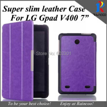 "Top Qualtiy Super slim PU Leather protective cover for LG G Pad 7"" tab,PU Leather Stand case for LG V400,6 color,free ship"