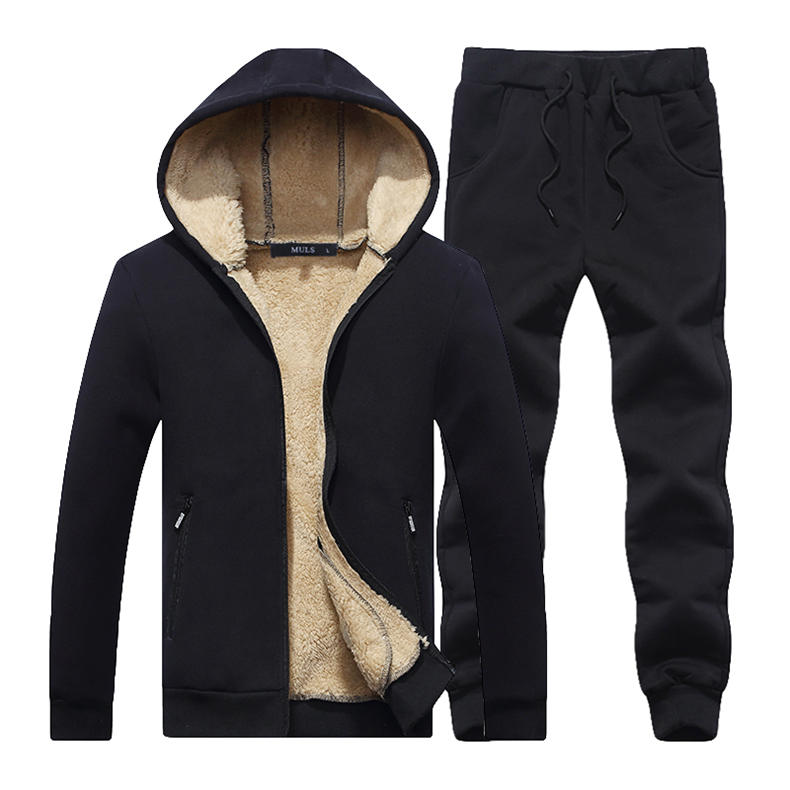 Couple Tracksuit Men Casual Cotton Knitted Hooded Warm Sweatshirt Male Winter Thick Lamb Cashmere Fleece Women Jacket+Pant 2PC 13