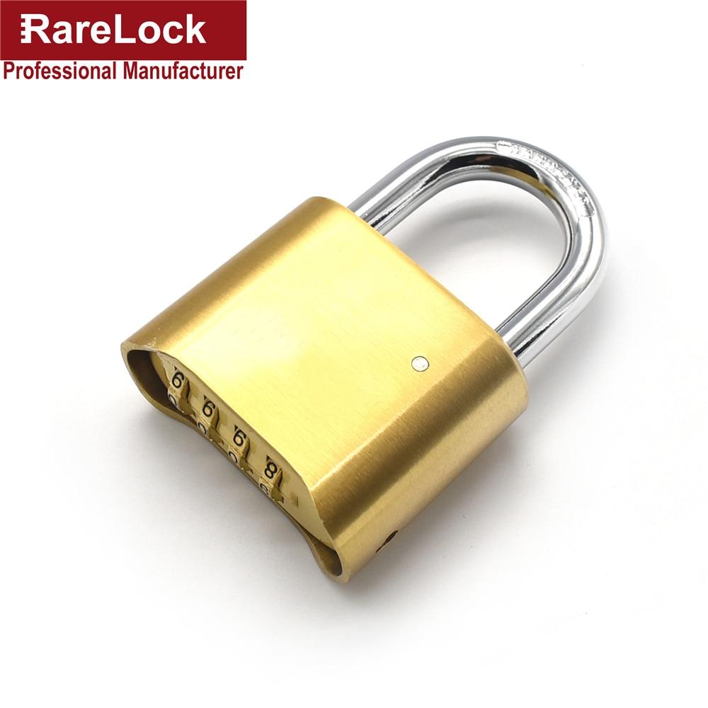 Rarelock 4 Digit Brass Combination Padlock Custom Code Key High Quality Password Lock for Door Cabinet DIY Furniture Hardware a<br>