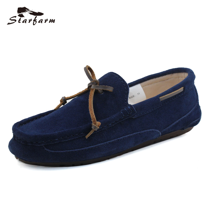STARFARM Genuine Leather Loafers Men Maroon Suede Doug Boat Shoes Moccasins Shoes Chic Cowhide Shoelace back to School loafers<br>