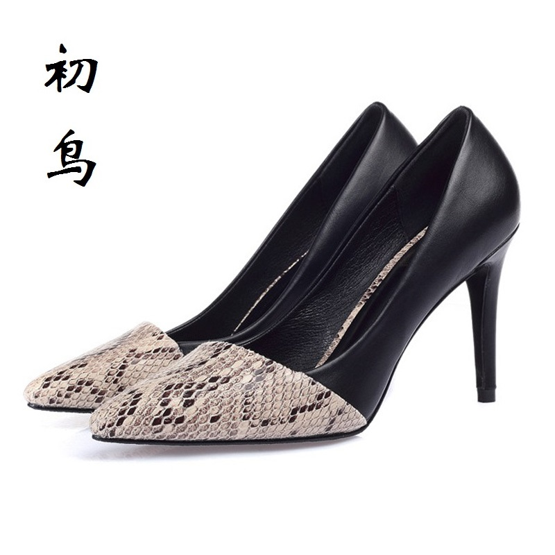2017 Small Size 30-43 Fashion Stitching Serpentine Sexy High Heels Women Pumps Ladies Shoes Woman Chaussure Femme Talon Mariage<br>