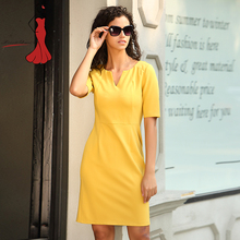 Deviz Queen Elegant Office Dresses Brand 2017 New V-Neck Design Women's Casual Simple Yellow Bodycon Slim Dress Wear to Work