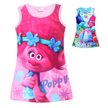 TEAEGG Children girls Sleeveless Poppy Fancy Vest Costume Summer Spring Little Kids Trolls Pajamas Sleeper tshirt Nightdress(China)
