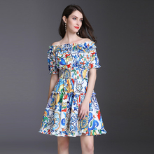 Europe And America New Designer 2018 Spring Summer New Women's Runway Slash-neck Collar Short Sleeves Elastic Waist Dress 887(China)