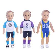 Casual Sports Soccer Uniform Outfit for 18'' American Girl Dolls Clothing Accessories(China)