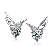 Fashion Jewelry Lovely Cute Earring Stud Angel Wings Crystal Stud Earrings for Young Lady Girls Gift for Girlfriend