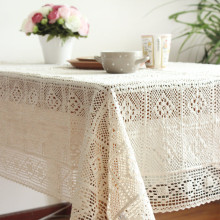 Europe Solid Color Lace 100% Cotton TableCloth Rectangle Table Cover Edge Tablecloth for Wedding Hot Sale