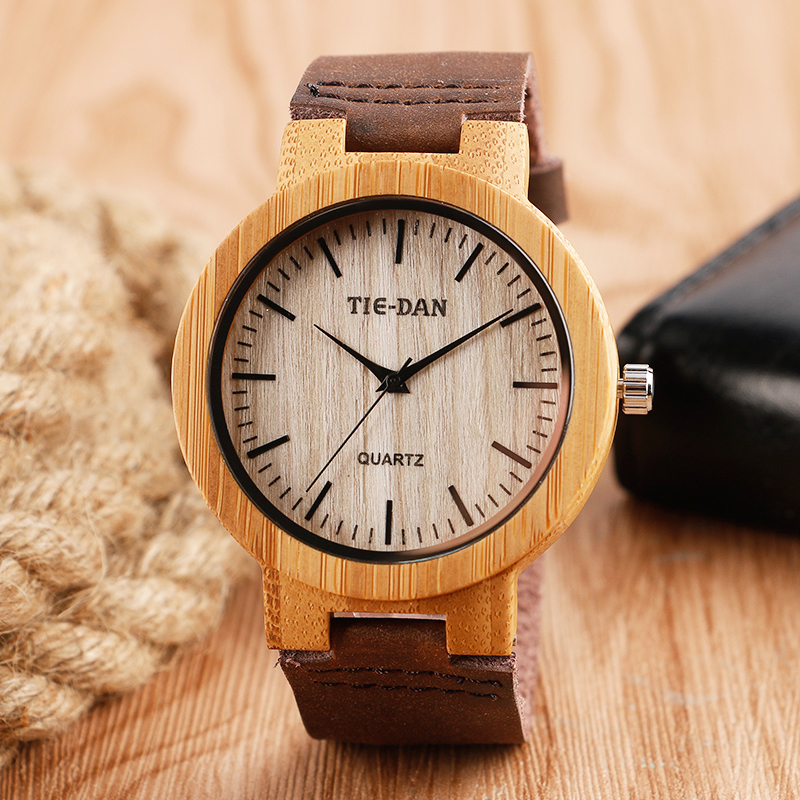 Relogios Simple Wood Watch Real Leather Special Handmade Quartz Wristwatches Bangle Nature Bamboo Creative Gifts for Men Women<br><br>Aliexpress