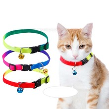 5pcs/lot Colorful Cat Collar with Bell for Cat and Small Puppy Dogs Soft and Comfortable Nylon Necklace for Walking Running
