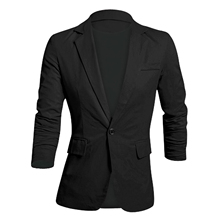 Men Long Sleeve Notched Lapel Button Down Slim Fit Casual Linen Blazer 6 Colors 5 Size