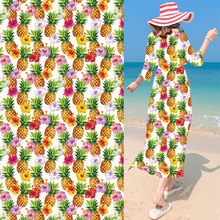 Golden Pineapple Chiffon Fabric Digital Printing Cloth Hawaii Styles Flower Haute Couture Fashion Design Women Dress Scarf Cloth