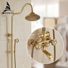 Deluxe Carving Retro Style Solid Brass Bathroom Shower Set Faucet Wall Mounted Dual Handle Rainfall Shower Mixer Taps 10128