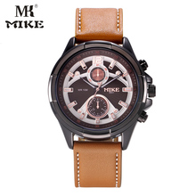 MK Mike Sport Watch Men Military Watch Wrist Watch Genuine leather strap Waterproof Unique dial design reloj hombre relogio saat