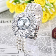 New Vintage Women Bracelet Watches Full Drill Diamond Dial Pearl Alloy Band Dress Saats Sexy Bayan Saats Luxury Business Clocks(China)