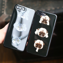 New glossy Soft TPU Case For iPhone 7 plus 5.5inch Cute Cartoon  Animal Cat Dog Back Cover Capa