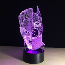 Super Cool Two Face LED Acrylic Table Lamp Toys Action Figures 7 Colors Changing Automatically Spiderman Hulk Deadpool Star War