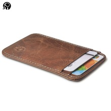 Wholesale 100% Real Leather Convenient ID Pocket Bank Credit Card Case Thin Card Wallet Men Cash Cards Pack Bus Card Holder NEW(China)