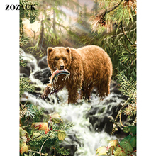 DIY 5D Diamond Embroidery Cross Stitch animal Brown bear peacock diamond painting full square Diamond Mosaic Home Decor 6 sizes(China)
