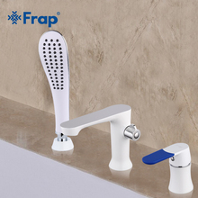 Frap Three-piece Bathtub Faucet Three-hole Separation Split White Spray Painting Hot and Cold Water Mixer with Hand Shower F1134(China)