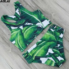 High Waist Bikini 2017 Bandage Swimwear Women High Neck Bikini Set Push Up Swimsuit Sexy Brazilian Biquini Green Leaf Bath Suit(China)