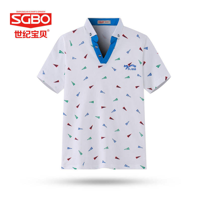 SGBO Childrens wear short-sleeved summer lapel coat of cultivate ones morality boy T-shirt 12 to 15 years old  7D3066<br><br>Aliexpress