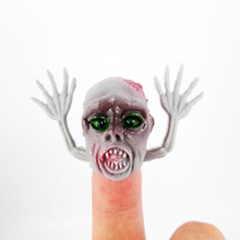 Funny!! Novel PVC Ghost Finger Puppet For Telling Stories Halloween Funny Toy Action Figure Toy For Children Gift(China)