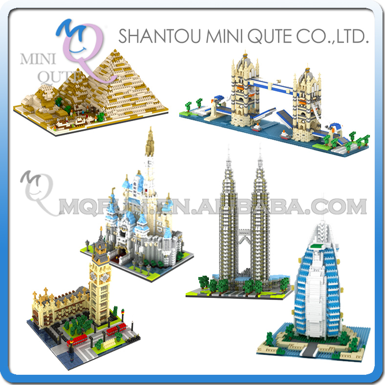Mini Qute YZ world architecture Burj Al Arab Burj Khalifa Tower Louvre Triumphal Arch plastic building block educational toy<br><br>Aliexpress