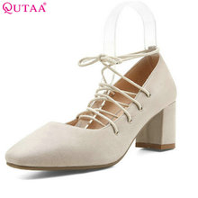QUTAA Pink Black Women Pumps Square High Heel Scrub Pointed Toe Ankle Strap Platform Summer Ladies Wedding Shoes Size 34-43(China)