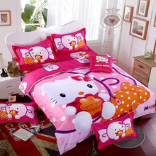 XINLANISNOW Bedding Sets Cartoon Hello Kitty 4pcs Bed Set Duvet Cover Bed Sheet Pillowcase Soft and Comfortable queen Size Kids