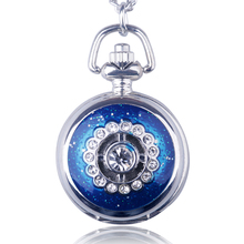Ceramic Multi - Diamond Red - Blue Black Pocket Watch Fashion Retro Mix Material Men Women Sweater Chain Jewelry Drop shipping