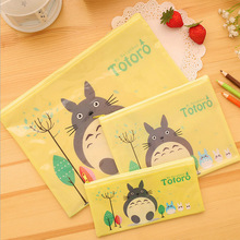 Cartoon Cute cat PVC file bag pencil case file folder documents filling bag office school suppllies stationery bag
