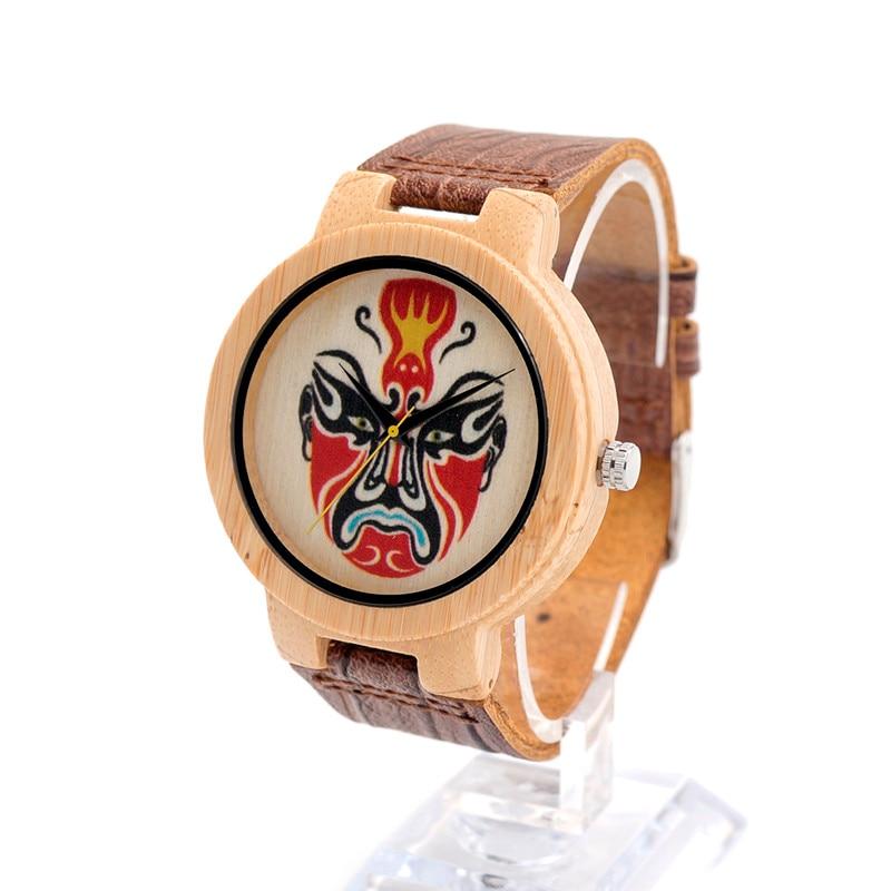 BOBO BIRD E05 UV Printing Classic Opera Mask Dial Mens Bamboo Wooden Watch Japanese Movement Quartz Watch as Gift relojes mujer<br><br>Aliexpress