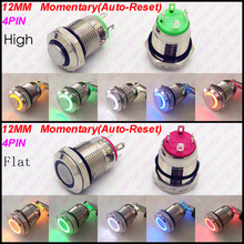 1PC 12MM Metal Switch illuminated Ring With LED 12V/24V 2A Indication Momentary Push Button Auto Reset Not Fixed Waterproof