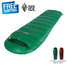Black Ice E400 Single Green/Brown Envelope Splice Goose Down Ultra-light Outdoor Sleeping Bag with Carrying Bag